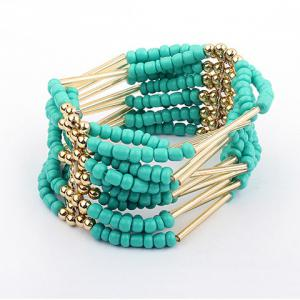 Bohemia Multilayerd Beads Embellished Bracelets - Blue - M