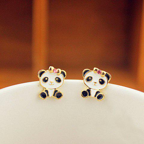 Store Pair of Alloy Panda Shape Rhinestone Embellished Stud Earrings