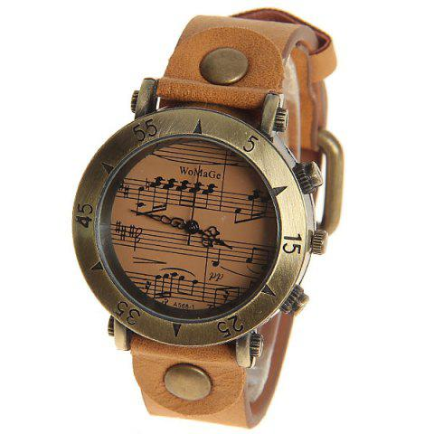 Fancy WoMaGe Quartz Watch with Numbers and Triangles Indicate Leather Band for Women (Brown)