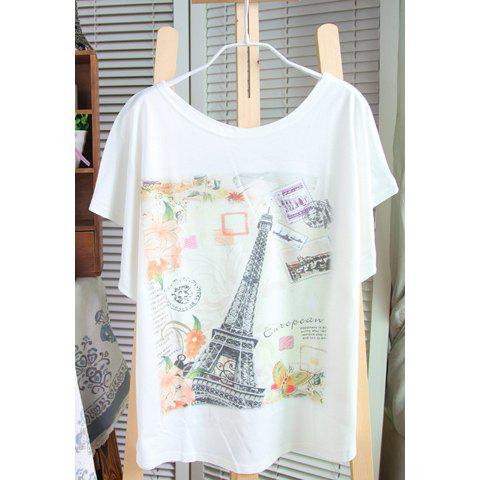 Unique Casual Style Cotton Blend Special Print Bat-Wing Sleeves Scoop Neck Women's T-Shirt