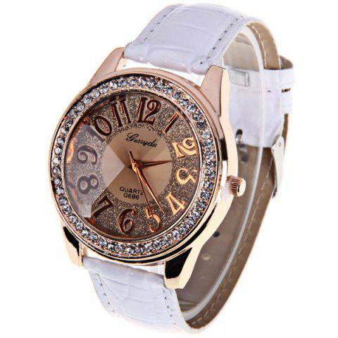 Discount Gerryda Quartz Watch with12 Arabic Numbers Indicate Leather Watch Band for Women (White)