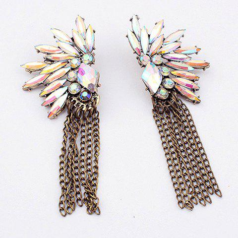 Chic Bohemian Style Diverse Rhinestone Embellished Women's Long Tassels Earrings - WHITE