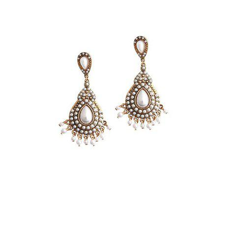 Shops Pair of Ethnic Faux Pearl Drop Earrings - WHITE  Mobile