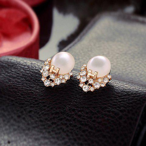 Unique Pair of Sweet Letter H Decorated Rhinestone and Opal Embellished Earrings For Women