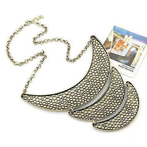 Multilayered Crescent Shaped Alloy Pendant Necklace - AS THE PICTURE