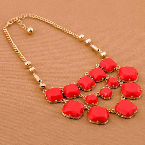 Hot Alloy Multilayered Faux Gemstone Embellished Necklace