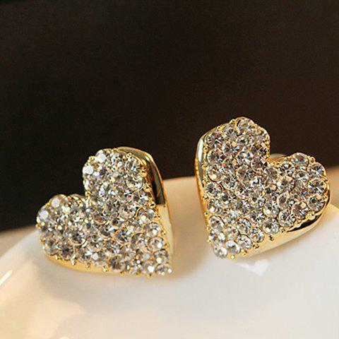 Outfit Pair of Sweet Rhinestone Embellished Heart Shape Earrings For Women AS THE PICTURE