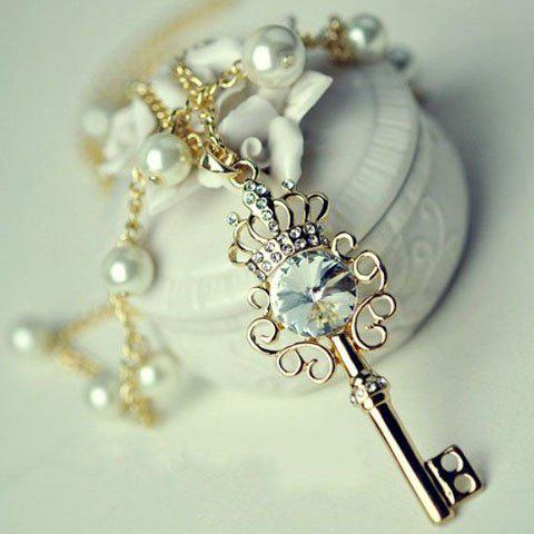 Shop Fashionable Faux Pearl Embellished Key Pendant Necklace For Women AS THE PICTURE