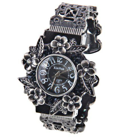 Best XinHua Quartz Watch with 12 Arabic Numbers Indicate Steel Watchband for Women (Black)
