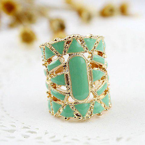 Discount Fake Gemstone Embellished Finger Ring - ONE SIZE GREEN Mobile