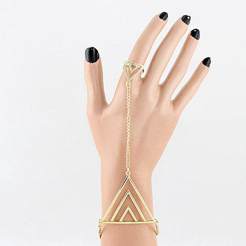 Store Alloy Triangle Bracelet With Ring - AS THE PICTURE  Mobile