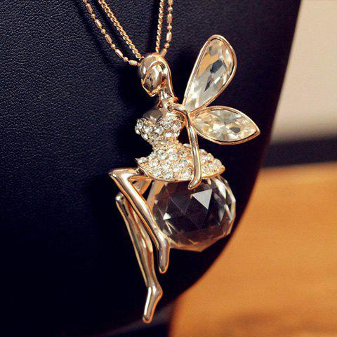 Store Exquisite Crystal Embellished Angel Shaped Long Necklace For Women