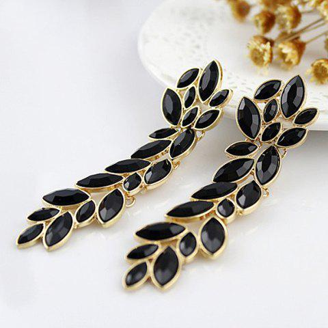 Latest Pair of Exquisite Gemstone Embellished Women's Leaf Shaped Long Earrings