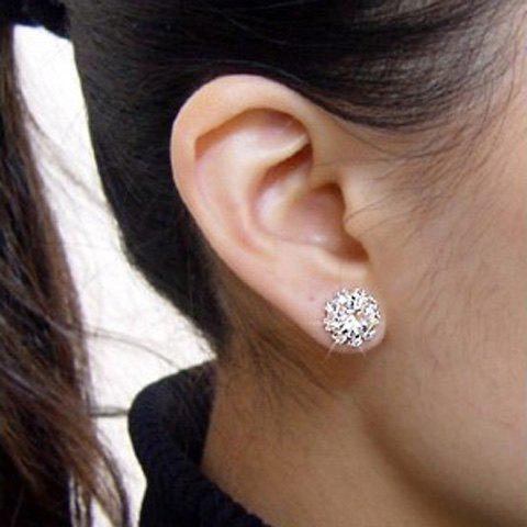 Affordable Sunflower Shape Rhinestoned Stud Earrings - AS THE PICTURE  Mobile