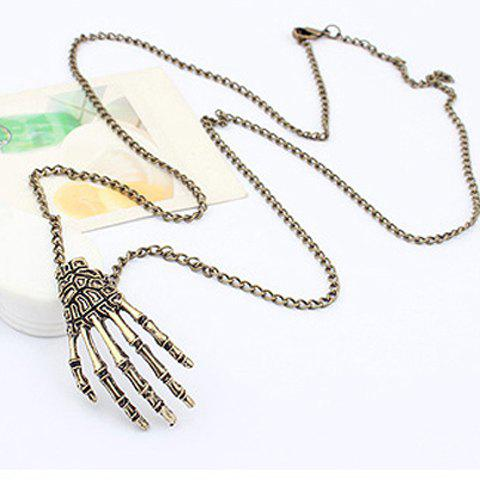 Sale Hyperbolic Skeleton Hand Shaped Alloy Sweater Chain For Men and Women AS THE PICTURE