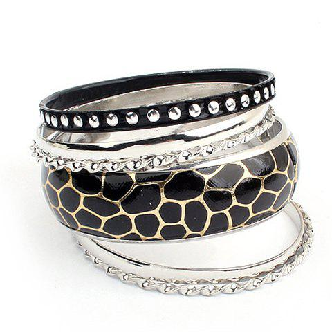 Chic 6PCS of Faux Leather Alloy Rivet Embellished Bracelets - AS THE PICTURE  Mobile