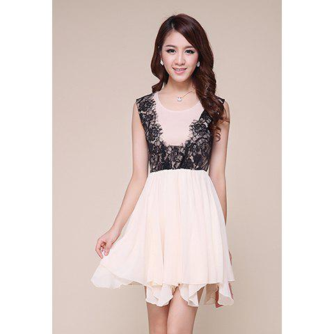 Unique Ladylike Scoop Neck Lace Splicing Irregular Hem Chiffon Women's Dress