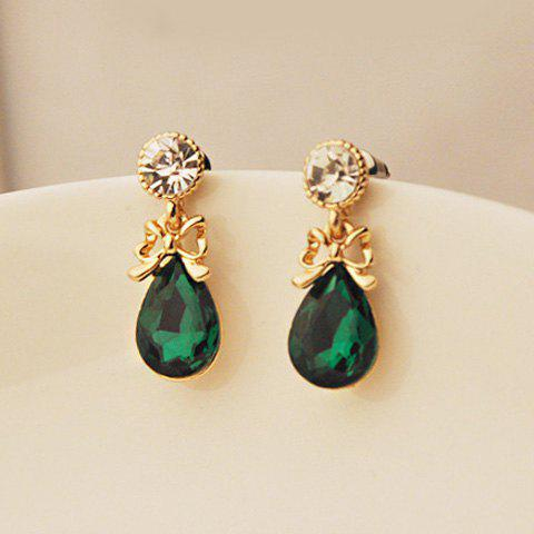 Fashion Pair Of Chic Style Bowknot Design Women's Waterdrop Shape Faux Crystal Earrings AS THE PICTURE