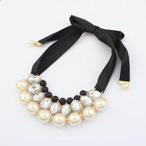Outfit Fake Crystal Pearl Ribbon Necklace - WHITE  Mobile