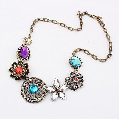 Store Vintage Gorgeous Rhinestoned Women's Multielement Flower Shape Pendants Necklace