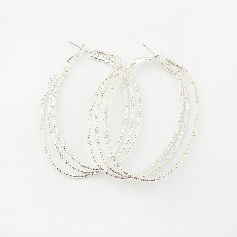 Store Pair of Alloy Multilayered Hoop Earrings - SILVER  Mobile