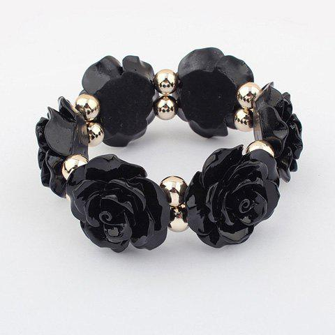 Vintage Beads Embellished Alloy Rose Shape Bracelet - BLACK