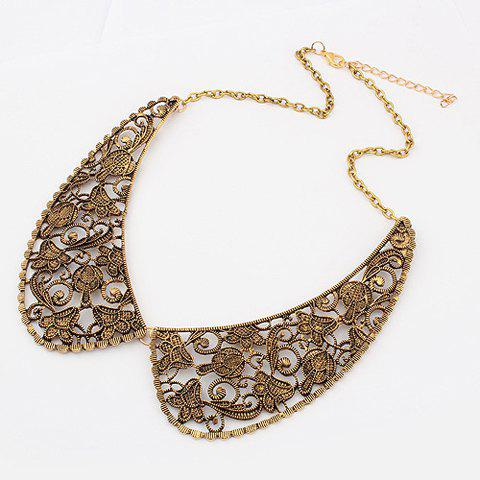 Outfit Delicate Vintage Openwork Fake Collar Shape Pendant Women's Alloy Necklace AS THE PICTURE