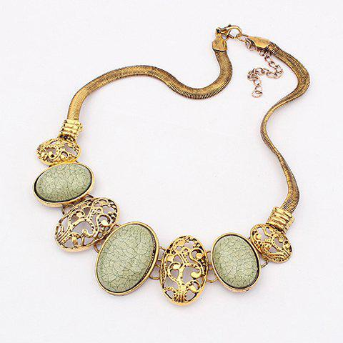 Buy Vintage Delicate Openwork Pattern and Faux Gem Design Women's Oval Pendants Necklace