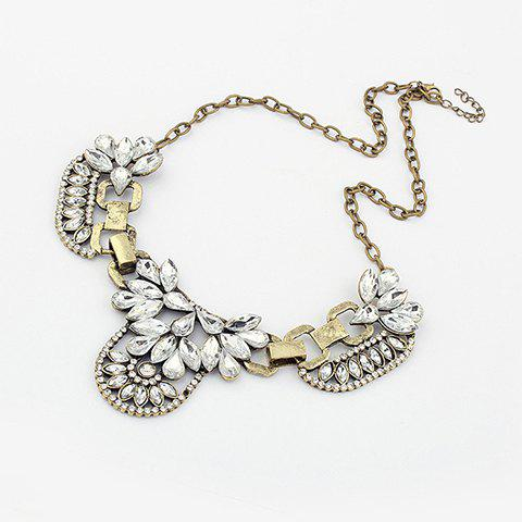 Fashion Exaggerated Style Rhinestone Decorated Flower Shape Metal Necklace For Women