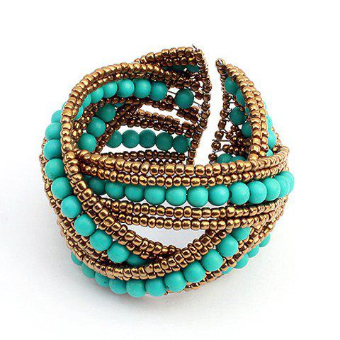 Latest Bohemian Bicolor Crossed Beading Cuff Bracelet - AS THE PICTURE  Mobile