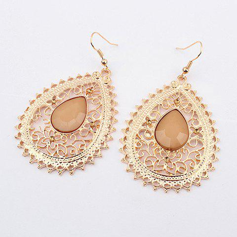 Pair of Exquisite Acrylic Gemstone Embellished Women's Openwork Fringed Earrings - APRICOT