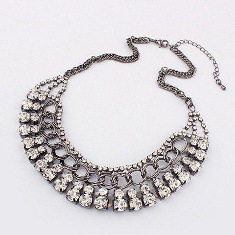 Exaggerated Chic Style Rhinestoned Women's Camber Alloy Choker Necklace - SILVER