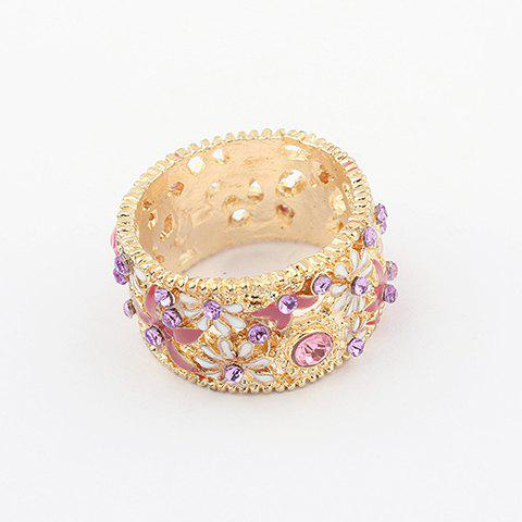 New Rhinestoned Flower Decorated Alloy Ring - ONE SIZE GOLD Mobile
