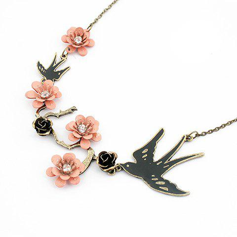 Trendy Bird and Flower Shape Pendant Necklace