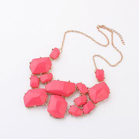 Affordable Irregular Geometric Faux Gems Necklace PEACH RED