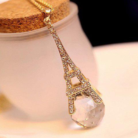 Latest Alloy Rhinestone Faux Crystal Embellished Eiffel Tower Pendant Sweater Chain Necklace AS THE PICTURE