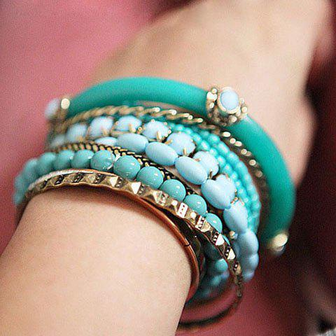 Buy 9PCS of Ethnic Style Strings Embellished Multi-Layered Bracelets BLUE AND GREEN