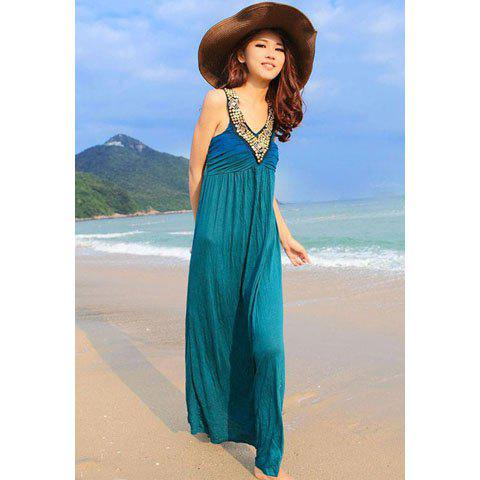 Buy Charming Sequin Embellished Plunging Neck Ruffle Design Solid Color Women's Maxi Dress LAKE BLUE ONE SIZE