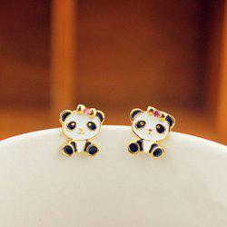 Pair of Alloy Panda Shape Rhinestone Embellished Stud Earrings