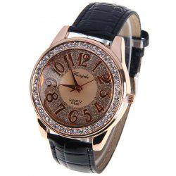 Gerryda Quartz Watch with12 Arabic Numbers Indicate Leather Watch Band for Women (Black)