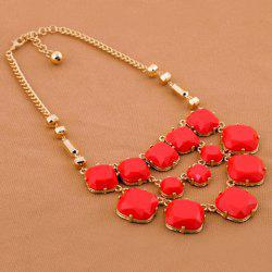 Alloy Multilayered Faux Gemstone Embellished Necklace -