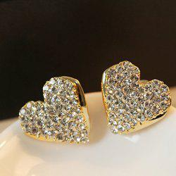 Pair of Sweet Rhinestone Embellished Heart Shape Earrings For Women