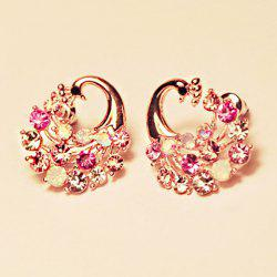 Pair of Peacock Shape Rhinestone Embellished Earrings