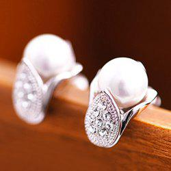 Hot Sale Style Pair of Faux Pearl and Rhinestone Embellished Earrings For Women -