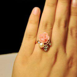 Faux Pearl Rhinestone Flower Ring -
