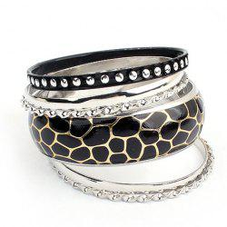 6PCS of Faux Leather Alloy Rivet Embellished Bracelets