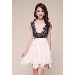 Ladylike Scoop Neck Lace Splicing Irregular Hem Chiffon Women's Dress -