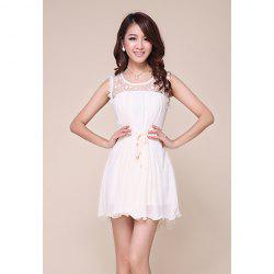 Palace Style Sleeveless Lace Splicing Solid Color Chiffon Women's Dress -