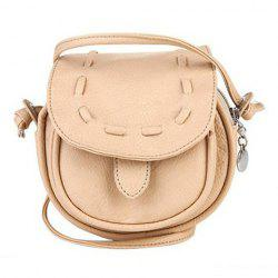 Girls Handmade Musette Bag Drum Pattern Small Shoulder Bag - BEIGE