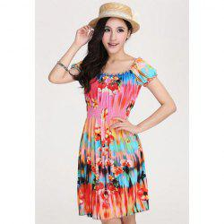 Bohemian Style Bateau Neck Colorful Floral Print Beam Waist Puff Sleeves Women's Dress